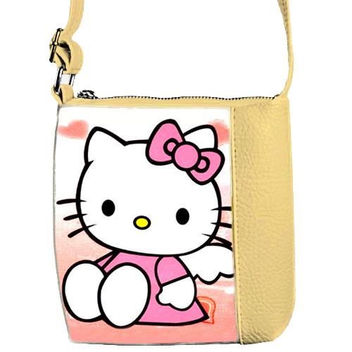 Сумка детская Mini Miss бежевая с рисунком Hello Kitty (55028)