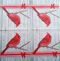 """Салфетка декупажная 33x33см 20 """"Красный попугайчик"""" (товар при заказе от 200 грн)"""