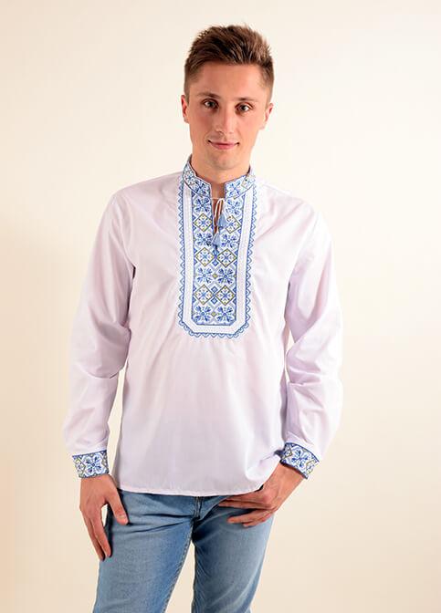 Модная мужская сорочка вышиванка из хлопка белого цвета с синим орнаментом