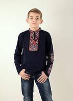 Трикотажная вышитая рубашка для мальчика с длинным рукавом