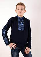 Праздничная детская вышиванка на мальчика с длинным рукавом машинная вышивка крестиком