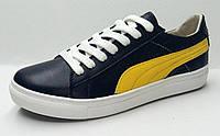 Подростковые  кроссовки. Кожа. 36-40 Днепропетровск.  Черные с желтым. Pm 1/4