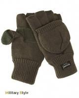 Вязаные перчатки-варежки с утеплителем Thinsulatе olive