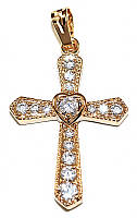 Крестик ХР позолота , камень -белый циркон, Высота 3,5 см. ширина 20 мм.