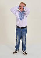 Хлопковая сорочка вышиванка белого цвета для мальчика машинная вышивка крестиком