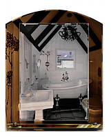 Влагостойкое зеркало «Арка» (69х55 см, полка)