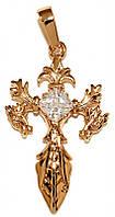 Крестик ХР позолота , камень -белый циркон, Высота 3,7 см. ширина 18 мм.