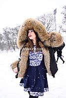 Короткая парка с мехом канадского енота, цвет плащевки черный, длина 70см, отправка по Украине и России
