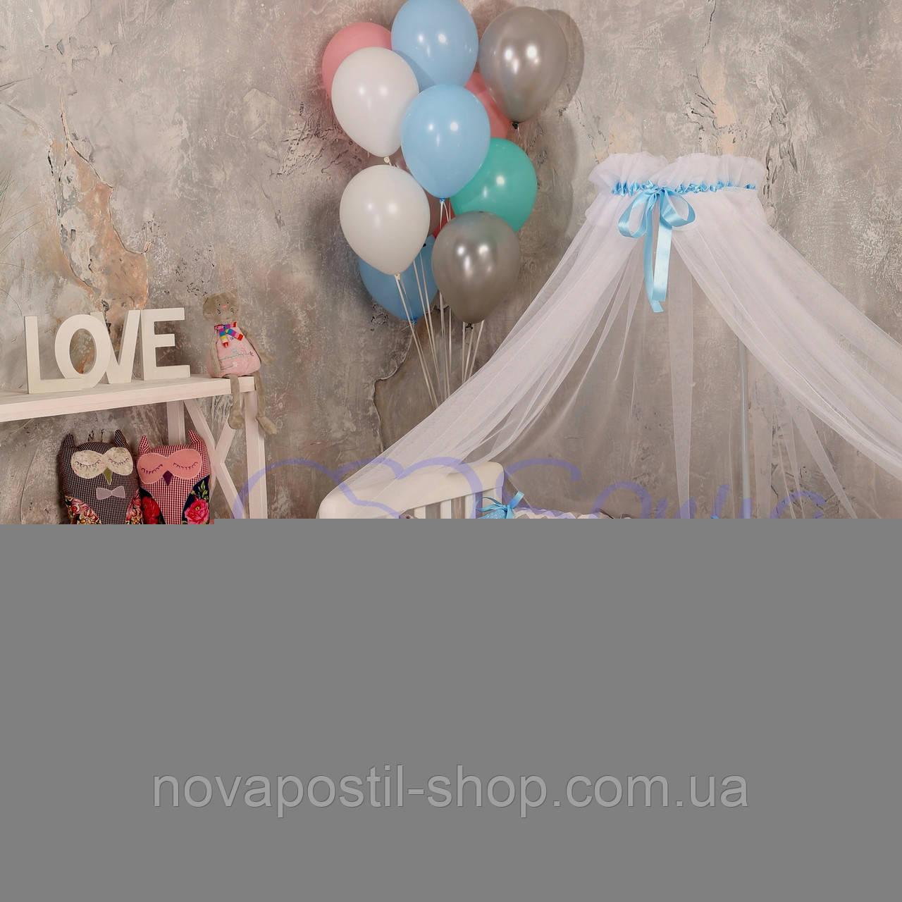 Набор в детскую кроватку Baby Design зигзаг серо-голубой (7 предметов)