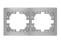 Lezard MIRA Рамка 2-ая горизонтальная б/вст серый металлик