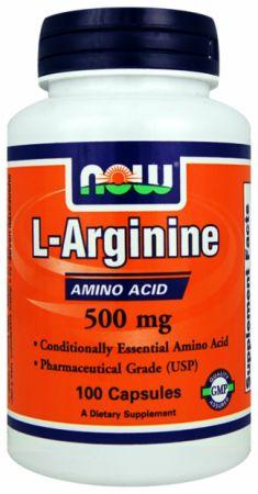 L-Arginine 500 mg Now Foods 100 caps.