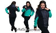 Женский теплый трикотажный спортивный костюм  тройка больших размеров мята  р-50-62
