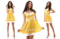 Платье сарафан из льна с кружевом