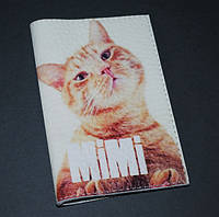 Женская обложка для паспорта -Кошка мими-