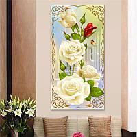 """Картина для рисования камнями Diamond painting Алмазная вышивка """"Белые розы"""", фото 1"""