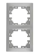 Lezard MIRA Рамка 2-ая вертикальная б/вст серый металлик
