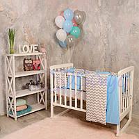 Набор в детскую кроватку Baby Design зигзаг серо-голубой (6 предметов), фото 1
