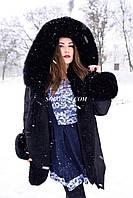 Парка 2 в 1 с мехом финского песца, плащевка цвет чёрный, в наличии, отправка Новой почтой по Украине