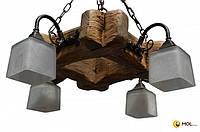 Люстра из дерева ISFIR рамка 4 плафона