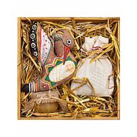 Набор Деревянная коробка, авторская игрушка аист, чай, мед, сено
