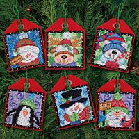 """Набор для вышивания крестом """"Рождественские украшения приятели//Christmas Pals Ornaments"""" DIMENSIONS"""