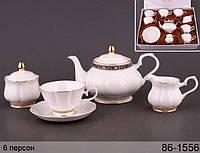 Набор чайный Белый с золотом 15 предметов (Чайник, сахарница, молочник, 6 чашек, 6 тарелок) 220 мл 86-1556