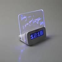Будильник, календарь, термометр, доска для сообщений с синей светодиодной люминесцентной подсветкой