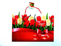 Пакет подарочный 35х26х11см Большой горизонтальный Тюльпаны белые и красные
