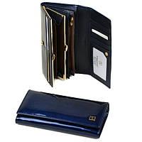 Кошелек женский кожаный лаковый Bretton Gold W1-V blue