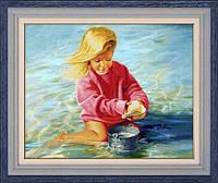 """Наборы для рисования камнями 5D (частичная выкладка на холсте) """"Девочка у моря"""" LasKo"""