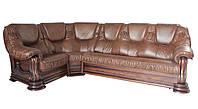 """Раскладной кожаный угловой диван 3Н1 """"Grizly"""" (Гризли), коричневый (298*197 см)"""