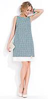 Летнее женское платье серо-зеленого цвета без рукава, модель Evita Zaps.