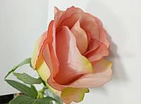 Розовая роза бутон (цветок розы) на ветке искусственная