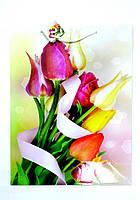 Пакет подарочный ГИГАНТ ВЕРТИКАЛЬНЫЙ 32х42х12см Букет Тюльпанов