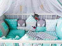 Детский постельный набор с бортиками зверюшками