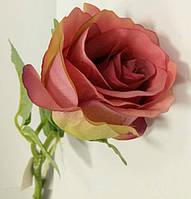 Роза в бутоне цвета танго (цветок розы) на ветке искусственная
