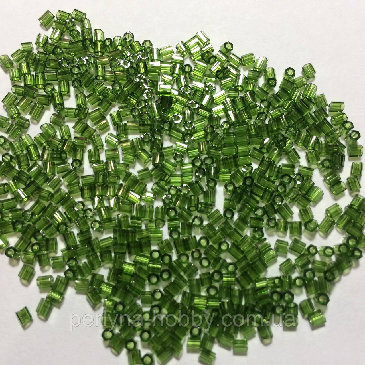 Бісер (бисер) MATSUNO Японія  рубка, 11/ 2 CUT 100 грам, № 25 зелений травянистий  прозорий