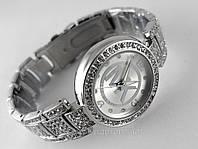 Часы женские Michael Kors в кристаллах, серебристый циферблат, цвет корпуса сталь