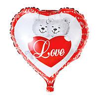 "Шар ""Медвежата с сердцем и надписью I love you"""