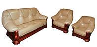 Кожаный комплект Гризли 3р-1-1, раскладной диван и 2 кресла, бежевый (2 цвета в наличии)