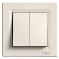 Выключатель 2-клавишный кнопочный крем Asfora Schneider (EPH1100123)