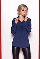 Темно-синяя блуза модного фасона