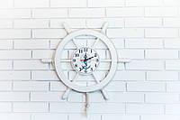 """Часы белые деревянные """" Штурвал """", фото 1"""