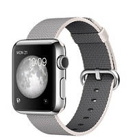 Apple Watch 38mm Stainless Steel Case with Pearl Woven Nylon (MMFH2)