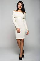 Теплое белое женское платье Вета  Leo Pride 44-48 размеры