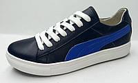 Мужские кожаные кроссовки. Черные с ярко-синим.  P-1/5