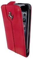 Ferrari Montecarlo flip leather case for iPhone 5C red
