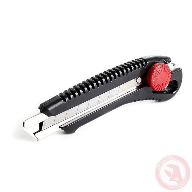 Нож с металлической направляющей под лезвие 18мм с винтовым фиксатором