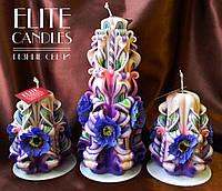 Свечи резные, ручная работа, расцветка от Elite Candles декор из цветков