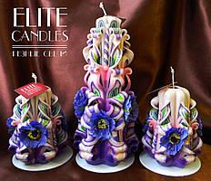 Свічки різьблені, ручна робота, забарвлення від Elite Candles декор з квіток
